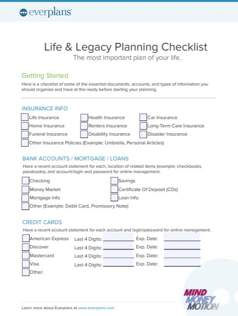 Life and Legacy checklist