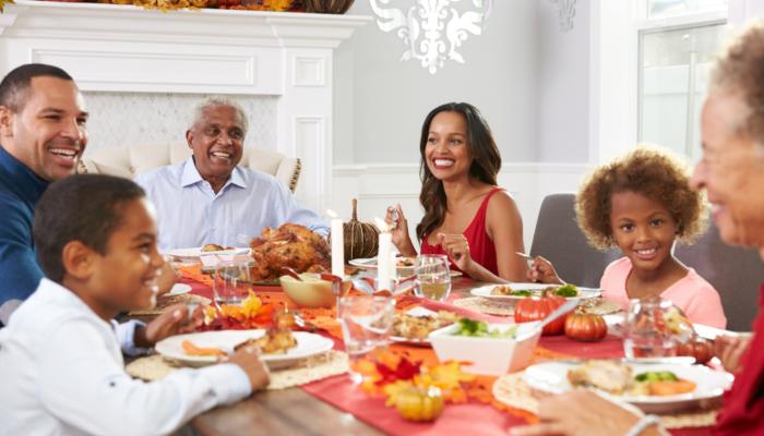 family gathered around table